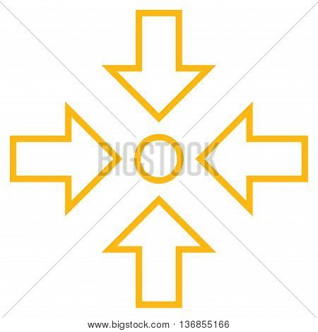 Pressure Center vector icon. Style is stroke icon symbol, yellow color, white background.