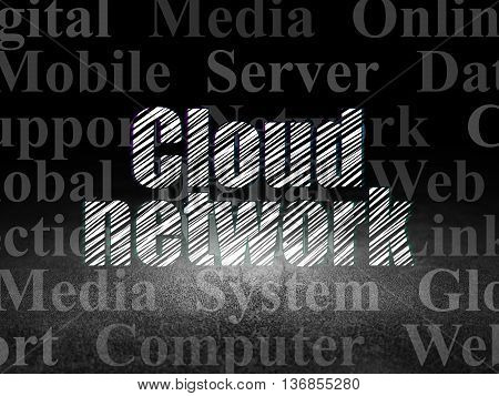 Cloud networking concept: Glowing text Cloud Network in grunge dark room with Dirty Floor, black background with  Tag Cloud