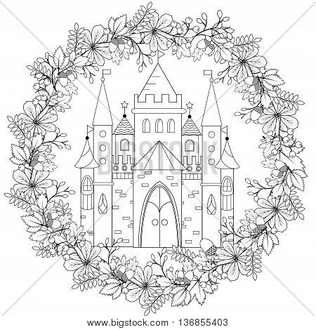 Relaxing coloring page with fairy castle in forest wreath for kids and adult art therapy meditation coloring book vector illustration printable sheet abstract lace background. Fairyland fantasy castle in black and white