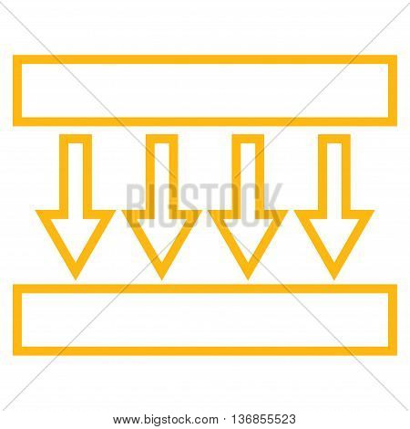Pressure Vertical vector icon. Style is contour icon symbol, yellow color, white background.