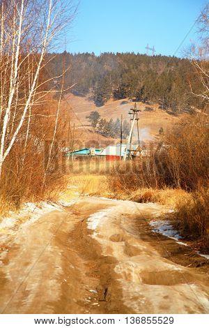 village road in siberia Baikal Russia in autumn