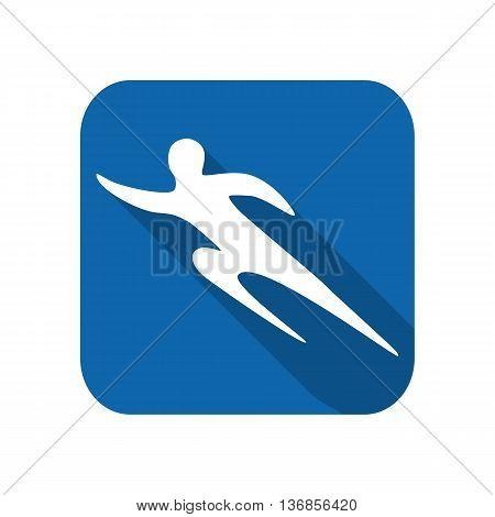 Sportsman man runner silhouette on a white background flat icon. Vector illustration