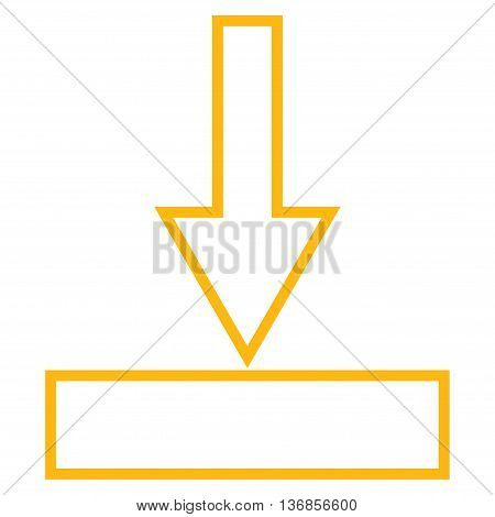 Push Down vector icon. Style is contour icon symbol, yellow color, white background.