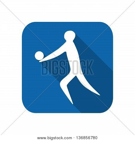 Athlete man volleyball player silhouette on a white background. Flat icon. Vector illustration