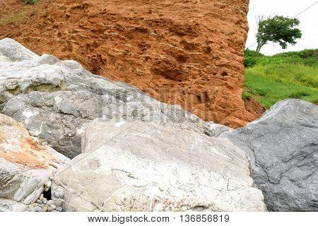 Detail of Jurassic Coast in Devon England