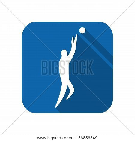 Athlete man basketball player silhouette on a white background. Flat icon. Vector illustration