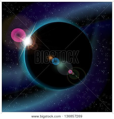 Vector illustration of eclipse of planet somewhere in deep space