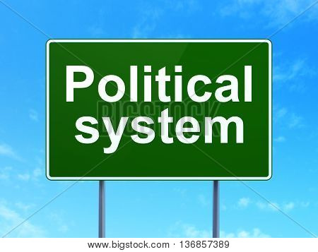 Political concept: Political System on green road highway sign, clear blue sky background, 3D rendering