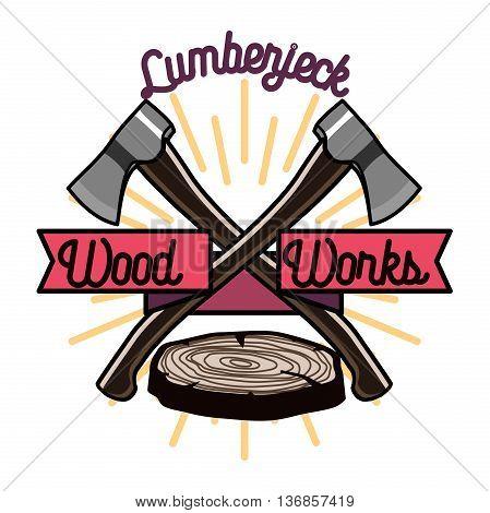 Color vintage lumberjack emblem. Vector illustration, EPS 10