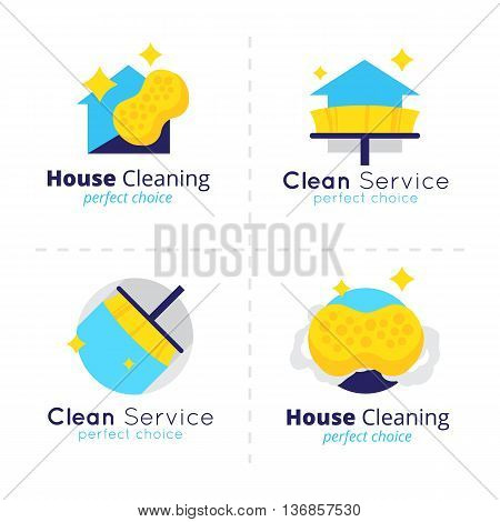 Vector house cleaning logo collection. Cleaning service symbols set.