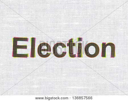 Politics concept: CMYK Election on linen fabric texture background