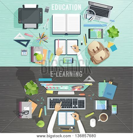 Workplace vector illustration.Education and e-learning concepts.
