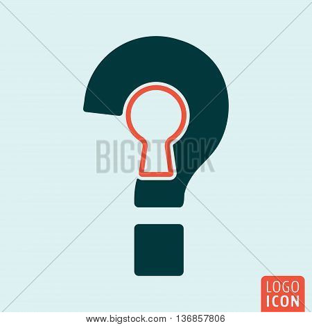 Question mark icon. Interrogation sign with keyhole. Vector illustration