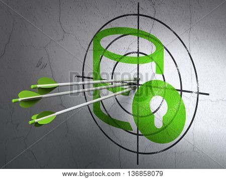 Success Programming concept: arrows hitting the center of Green Database With Lock target on wall background, 3D rendering
