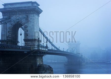 Suspension Chain Bridge in Budapest in Hungary in Europe