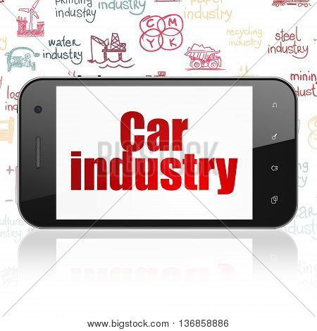 Industry concept: Smartphone with  red text Car Industry on display,  Hand Drawn Industry Icons background, 3D rendering