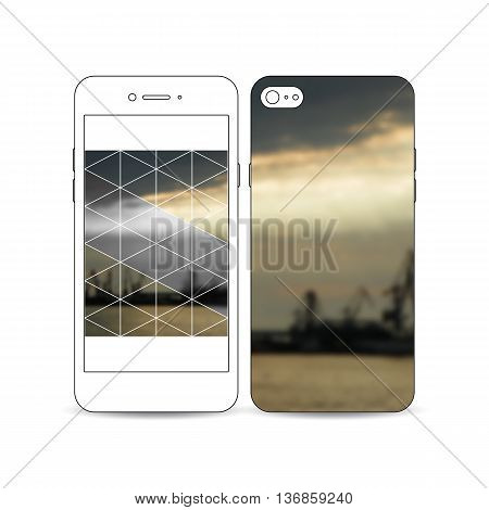 Mobile smartphone with an example of the screen and cover design isolated on white background. Colorful polygonal background with blurred image, seaport landscape, modern triangular vector texture.