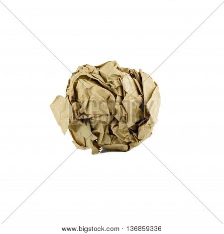crumpled brown paper ball isolated on white