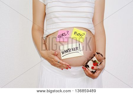 pregnant woman belly expecting concept on white