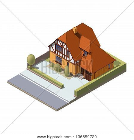 Vector isometric suburban building. Flat style. Illustration Urban and Rural House.