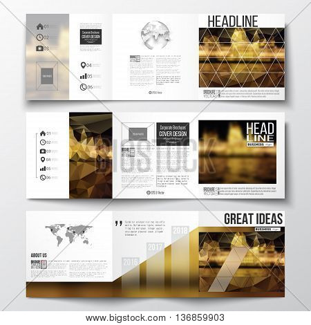 Vector set of tri-fold brochures, square design templates with element of world map and globe. Colorful polygonal background, blurred image, night city landscape, triangular vector texture.