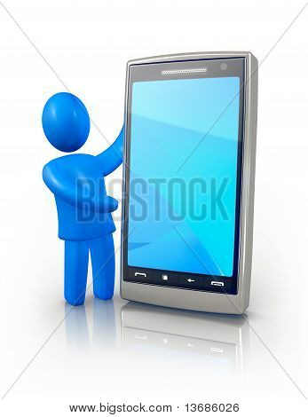 Man showing smart phone screen