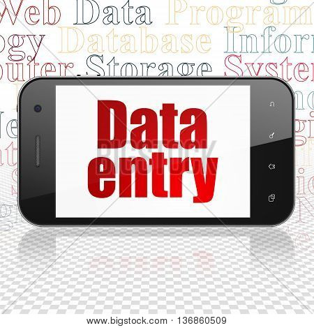 Data concept: Smartphone with  red text Data Entry on display,  Tag Cloud background, 3D rendering