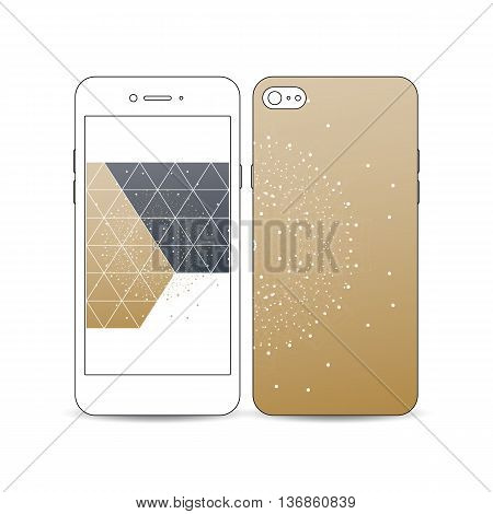 Mobile smartphone with an example of the screen and cover design isolated on white. Polygonal backdrop with connecting dots and lines, golden background, connection structure. Digital vector