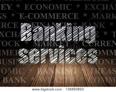 Banking concept: Glowing text Banking Services in grunge dark room with Wooden Floor, black background with  Tag Cloud