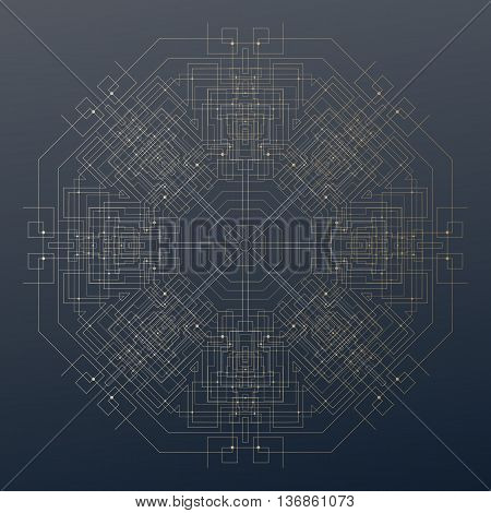 Abstract round technology pattern on dark background, golden mandala template with connecting lines and dots, connection structure. Digital scientific vector.