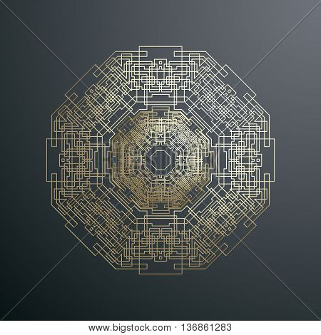 Round golden technology pattern isolated on dark background, mandala template with connecting lines and dots, connection structure. Digital scientific vector.