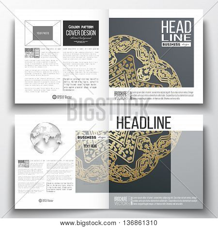 Set of annual report business templates for brochure, magazine, flyer or booklet. Golden microchip pattern, dark background, mandala template with connecting dots and lines. Digital scientific vector