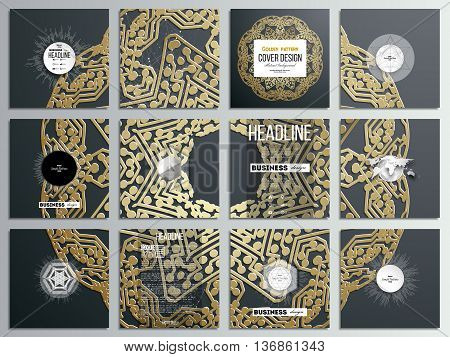 Set of 12 creative cards, square brochure template design. Golden microchip pattern on dark background with connecting dots and lines, connection structure. Digital scientific vector.