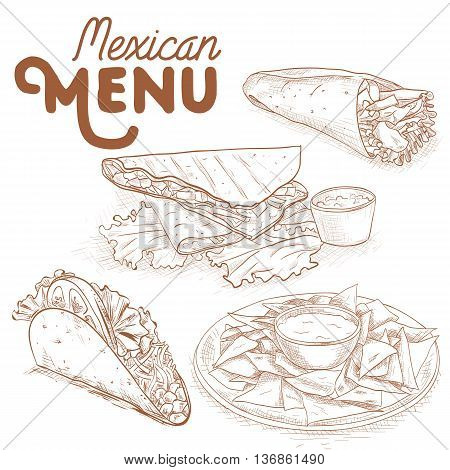 Scetch of mexican food. Vector illustration, EPS 10