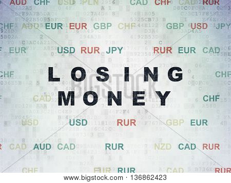 Currency concept: Painted black text Losing Money on Digital Data Paper background with Currency
