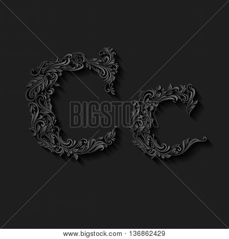 Handsomely decorated letter c in upper and lower case on black