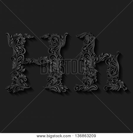 Handsomely decorated letter h in upper and lower case on black