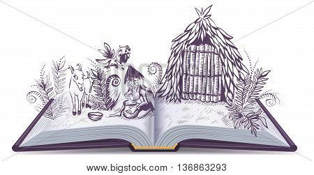 Robinson Crusoe on desert island. Open book adventure. Cartoon illustration