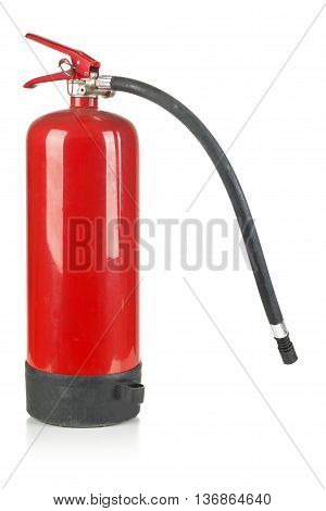 Red unused fire extinguisher over white background