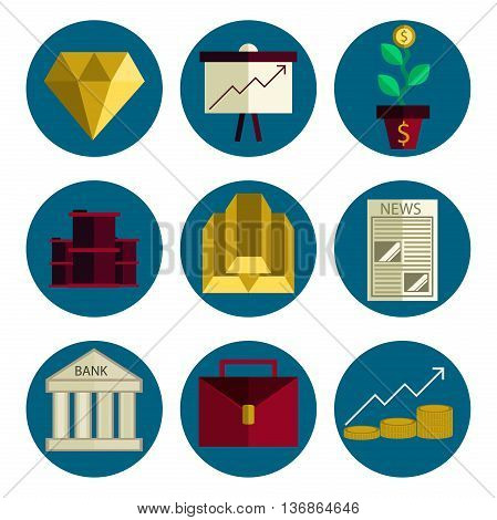 Stock exchange flat icons set. Vector illustration, EPS 10