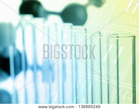 Test tubes with molecule model - chemistry or biology science background