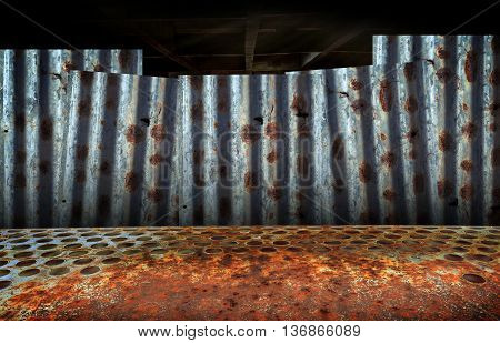 abstract background image of rusty corrugated iron sheets overlapping to form a wall
