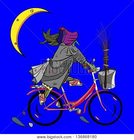 vector illustration of a funny witch riding a bicycle with broomstick inside the basket at night magic halloween design