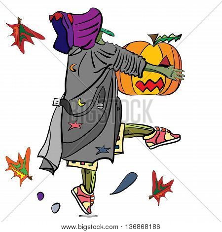 vector illustration of a funny witch tiptoeing stealing a pumpkin magic halloween design
