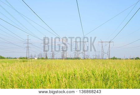 Power line in the countryside on the outskirts of St. Petersburg Russia.