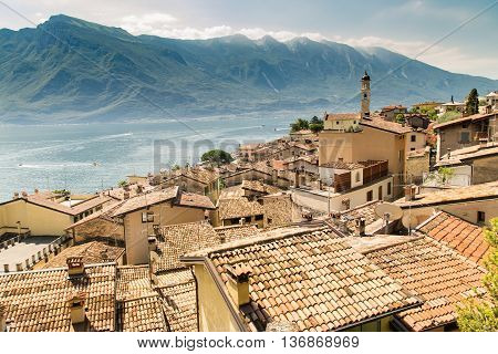 Panorama of Limone sul Garda a small town on Lake Garda Italy.