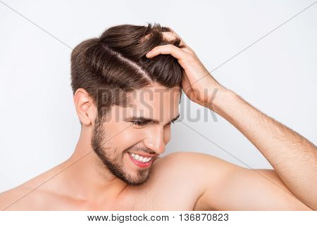 Portrait Of Smiling Man Showing His Healthy Hair Without Furfur