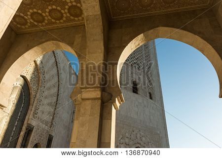 view of the arches outside the mosque of hassan
