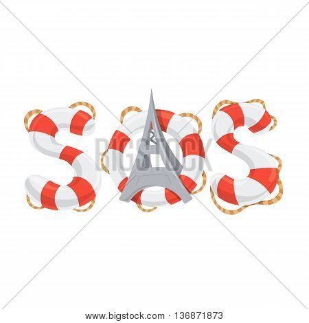Stripped lifebuoy emergency help call. Vector illustration.