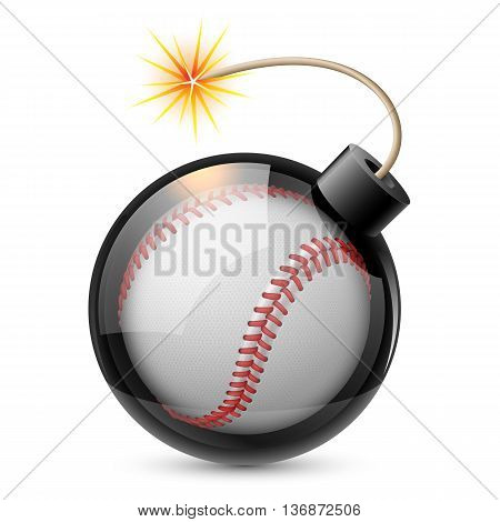 Abstract baseball shaped like a bomb. Illustration on white background for design